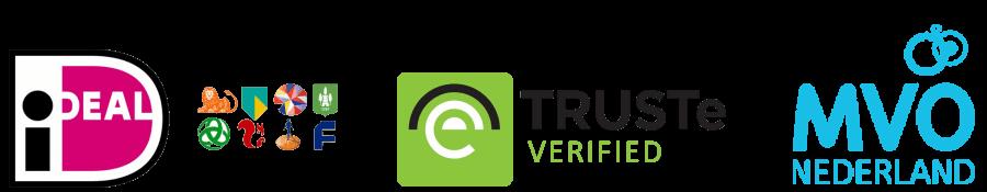 Logo's ideal, TRUSTe en MVO Nederland. Veilig uw nieuwe traagschuim matras bestellen bij Decupré