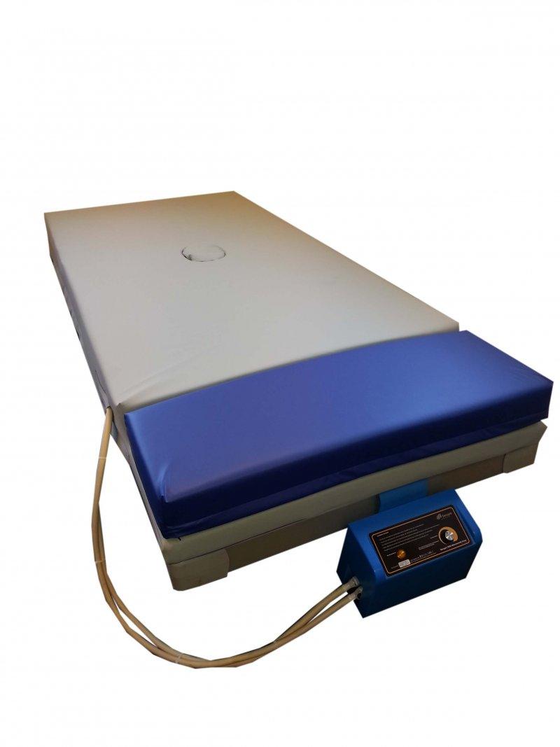 Een afbeelding van de gesealde M2500 anti-decubitus matras met een uniek wisselluchtsysteem met nul druk op de hielen en op het sacrum.