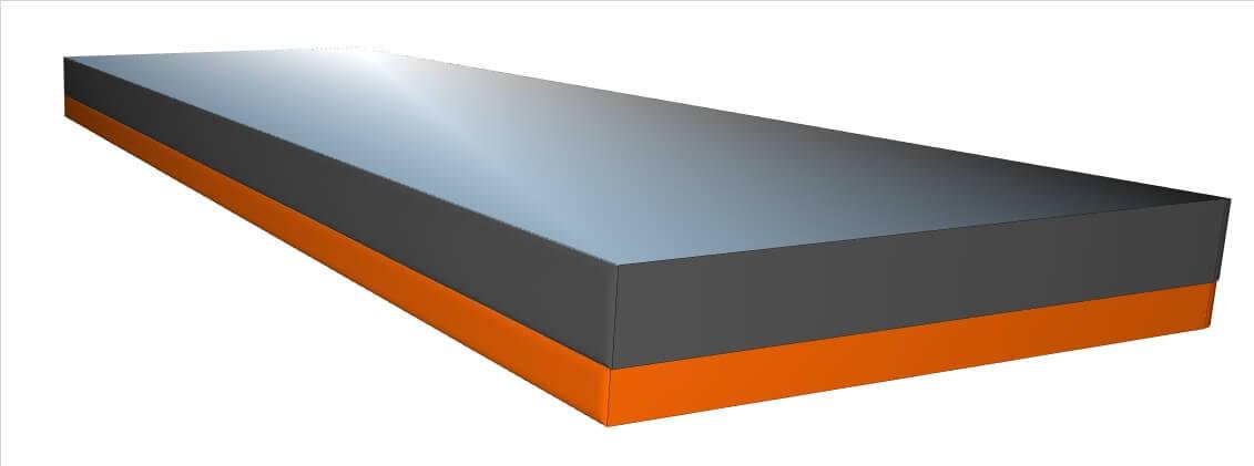Een rendering van een M500 gesealed anti-decubitus matras bestaande uit wee lagen schuim: één laag traagschuim en één laag koudschuim.