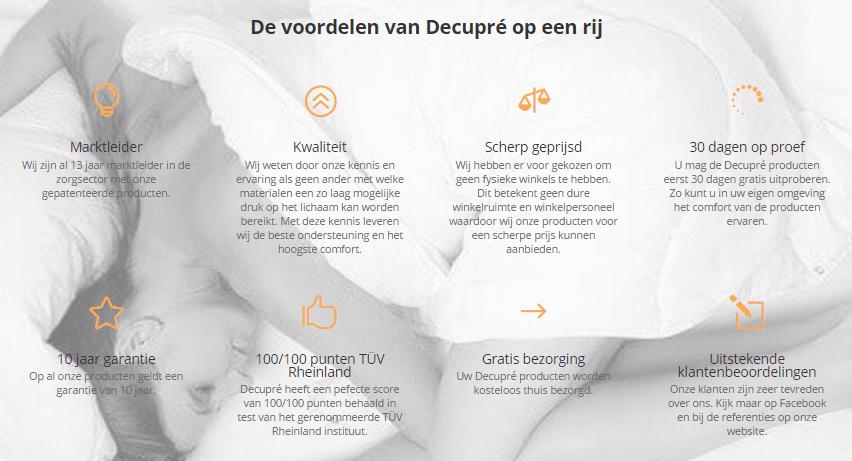 Voordelen Decupré marktleider zorg kwaliteit scherp geprijsd proefslapen garantie gratis bezorging
