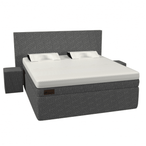 De luxe antraciet grijze Full Core Boxspring set van Decupré.
