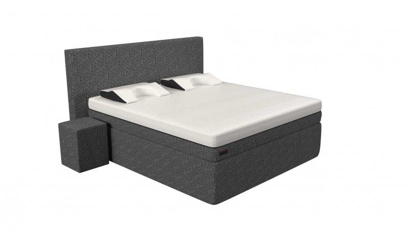 de antraciet grijze Full Core Boxspring set van koudschuim met hoogwaardig multi-layer matras van traagschuim en koudschuim.